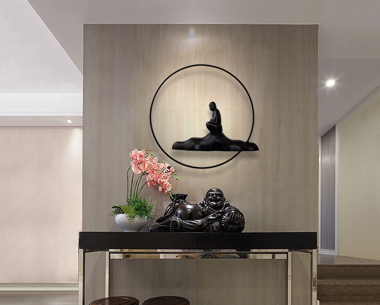 buddha and yin yang asian metal wall art sculpture metal on metal wall art id=92670
