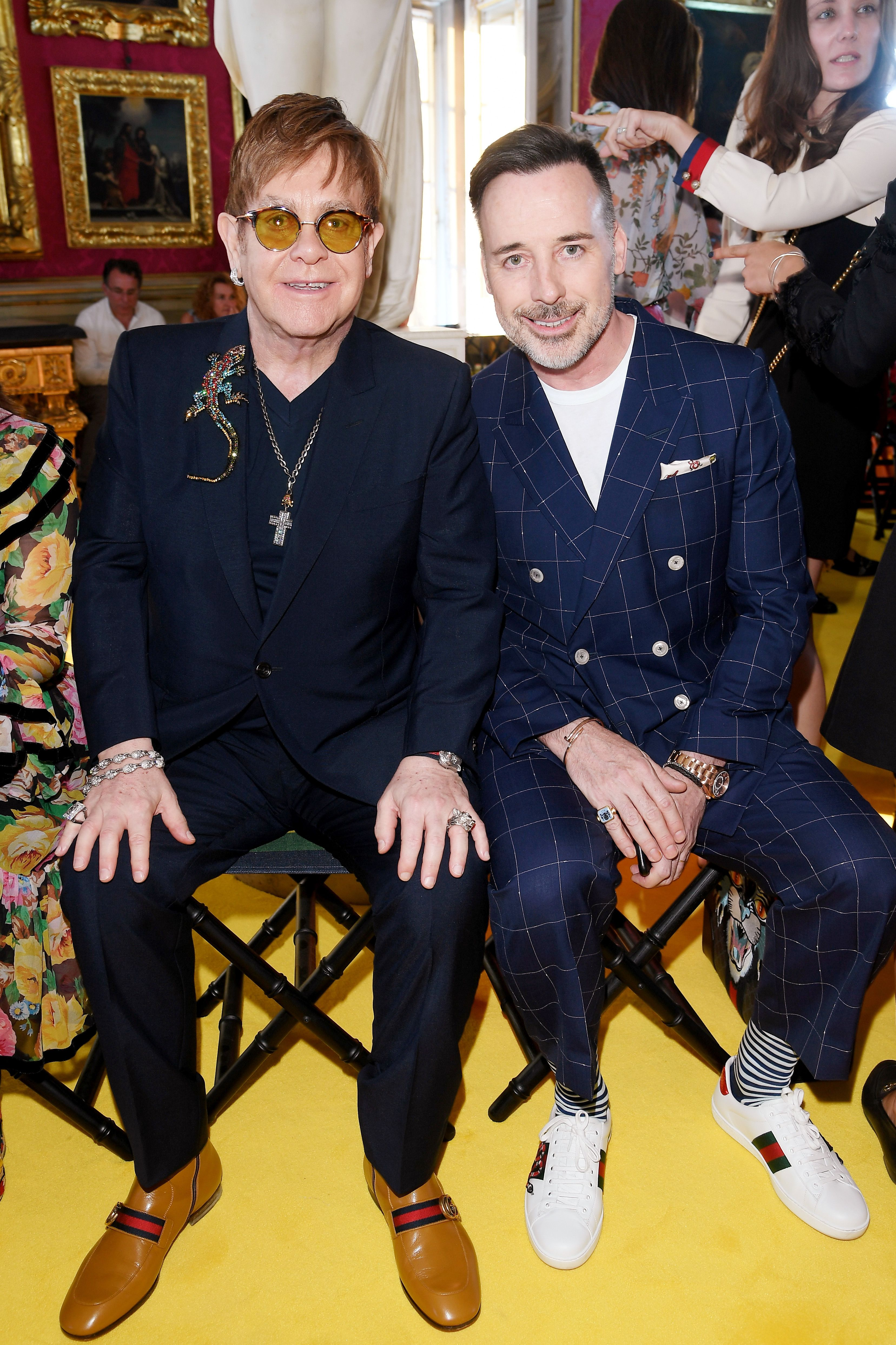 Sir Elton John Together With David Furnish Attending The Gucci