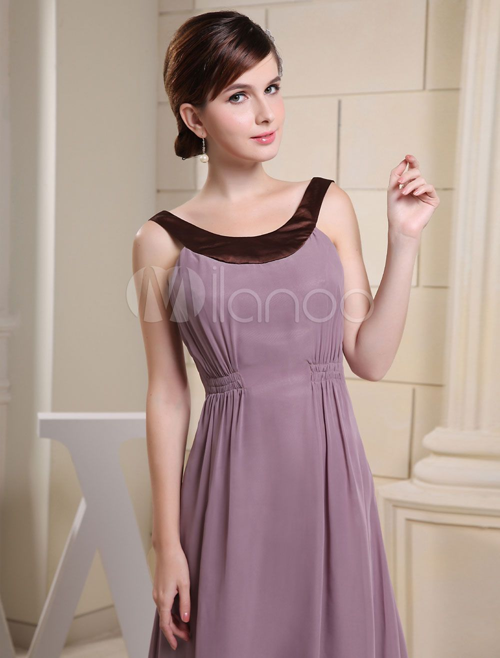 ab0adb08db9 Lavender Evening Dress Jewel Neckline Elastic Pleated Court Train Chiffon  Wedding Party Dress  Jewel
