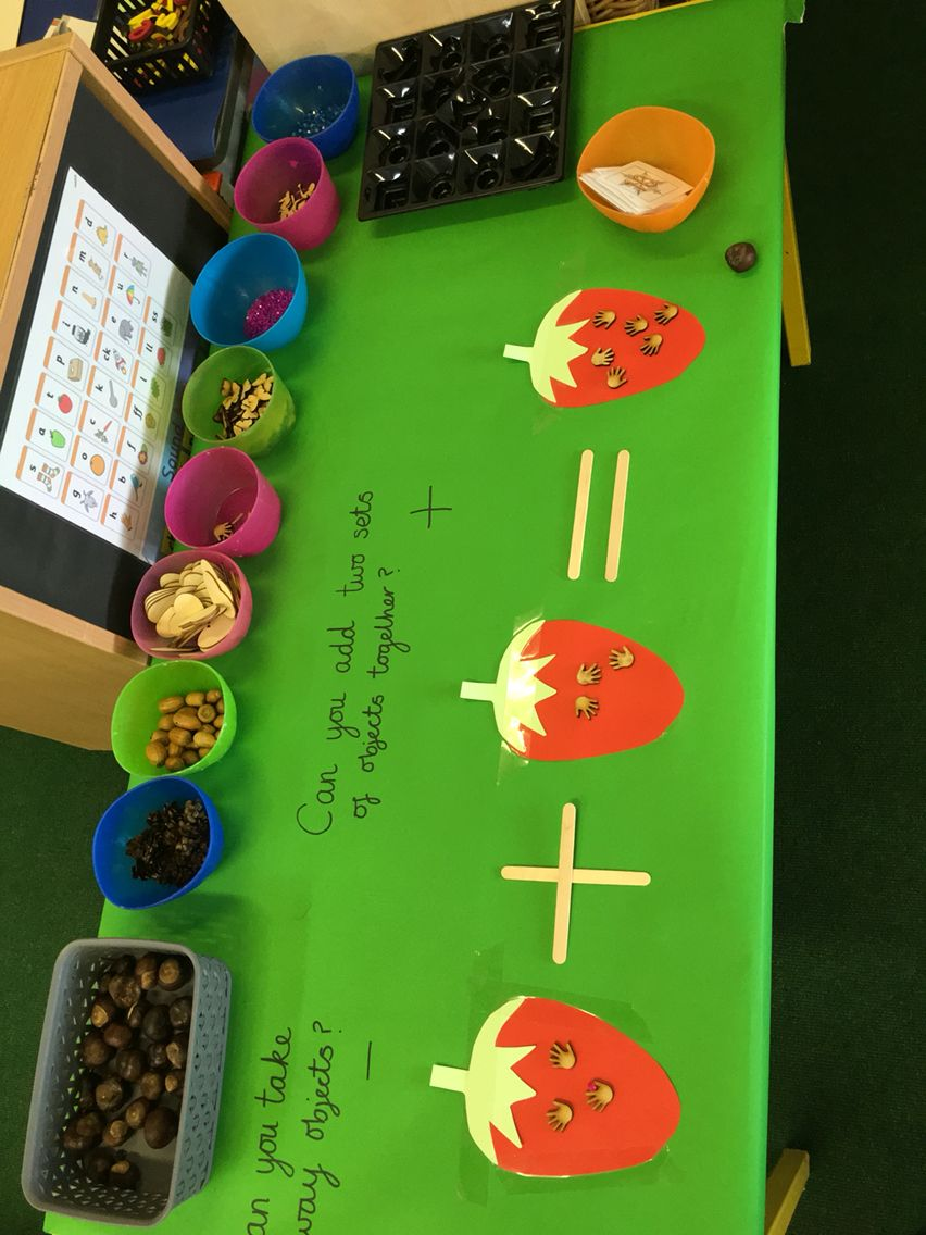 Maths Challenge Table Eyfs Adding And Subtracting Number Sentence Practise With Real Wood Objects Cornerstones Eyfs Activities Reception Classroom Maths Eyfs Adding maths games eyfs