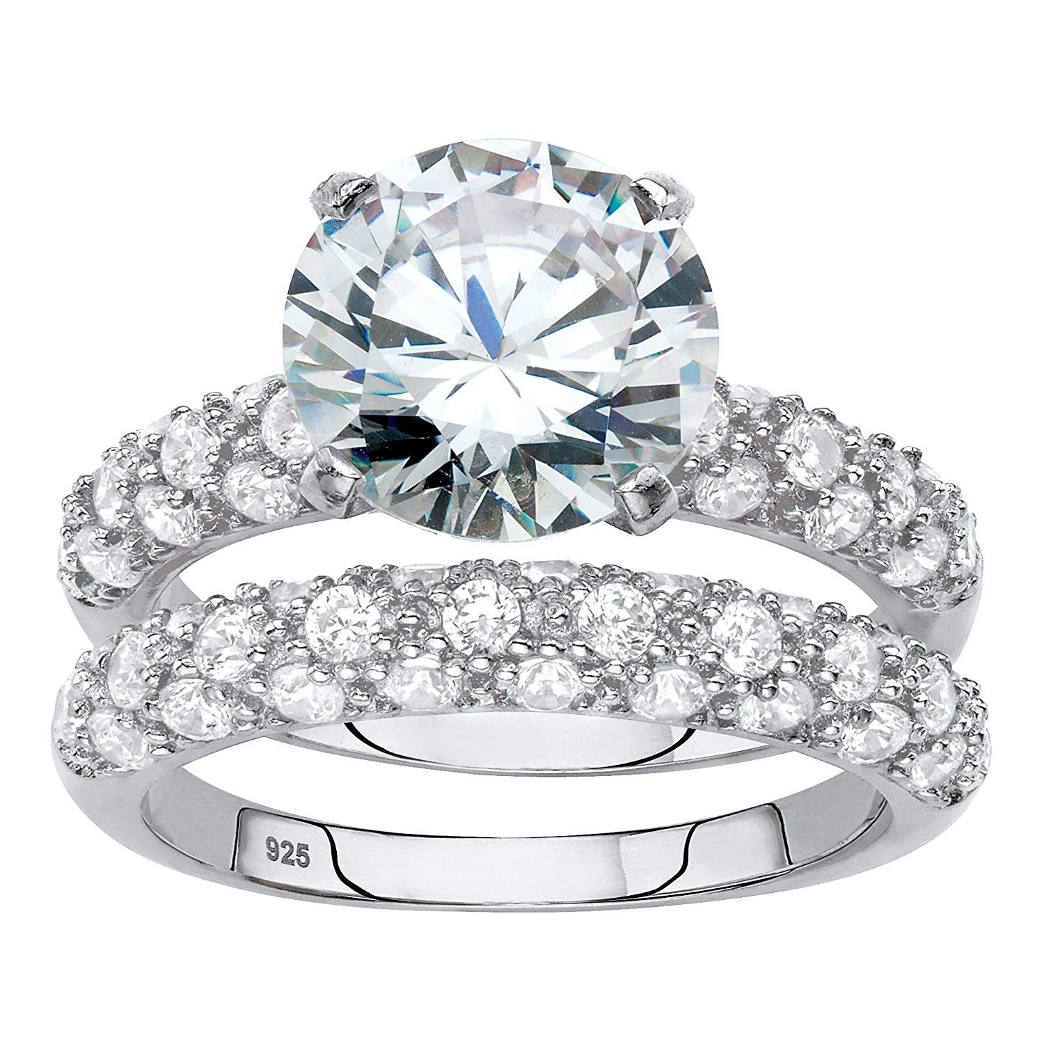 Platinum over Sterling Silver Round Cubic Zirconia Bridal