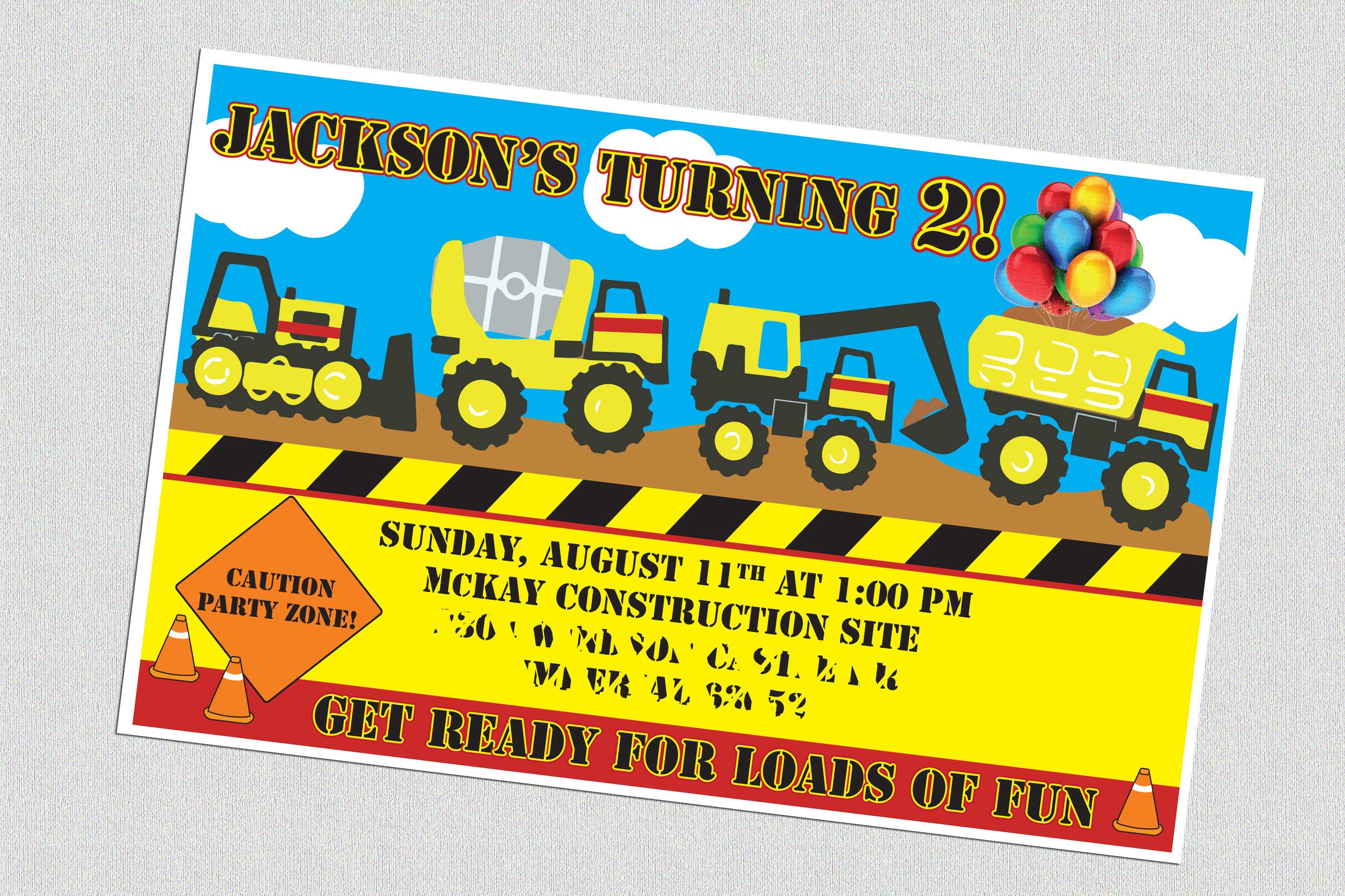 2nd Birthday Party Invitations Tonka Truck Construction Theme