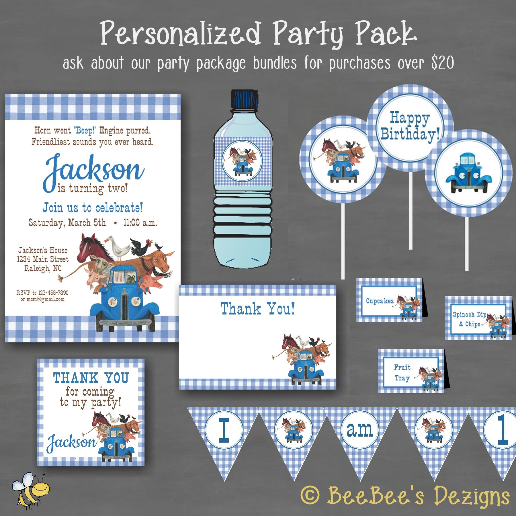 Little Blue Truck Printable Party Package