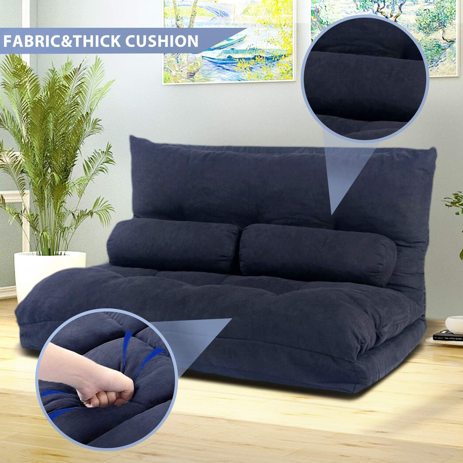 Amazon Com Floor Sofa Bed Foldable Sleeper Bed 5 Position Reclining Futon Sofa Lazy Sofa Couches With 2 Pillows
