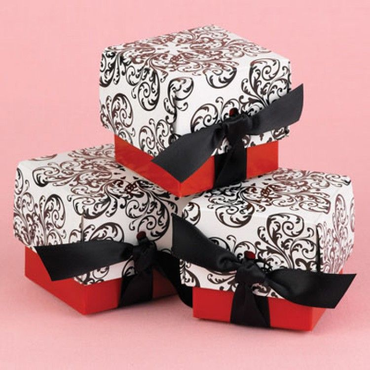 Wedding Favor Boxes - Red Filigree Favor Boxes (Pack of 25 ...