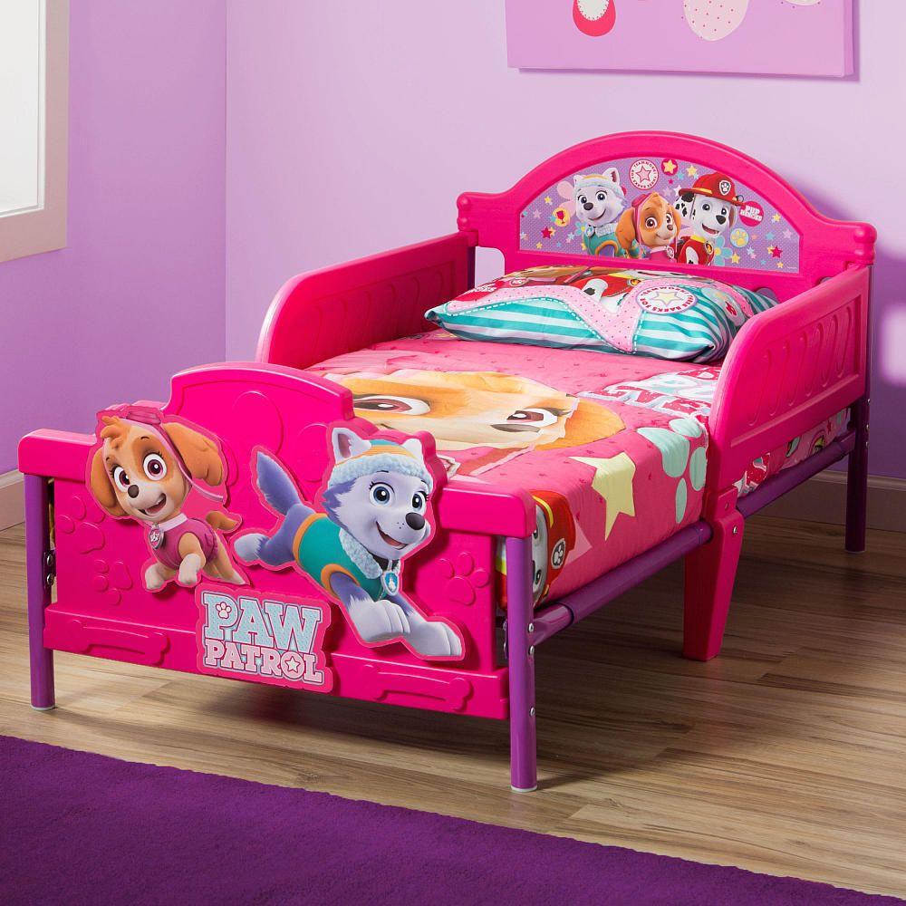 Toddler Bed Girls Paw Patrol Skye 3D Rails Headboard Pink Bedroom ...