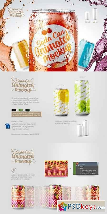 Soda can animated mockup 1341370 | de PSDKEYS | Mockup