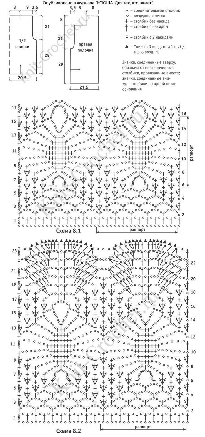 схемы модели ажурного вязания крючком