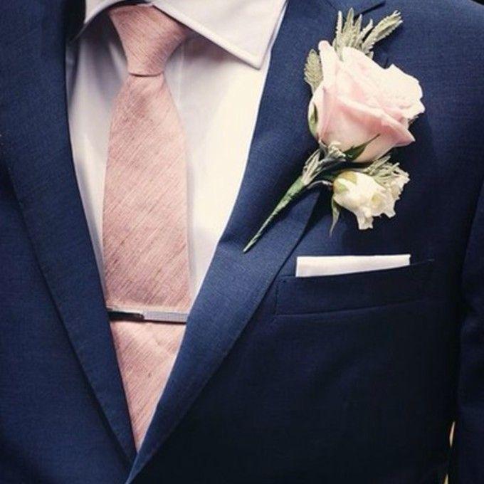 Navy Blue Tux With Peach Tie