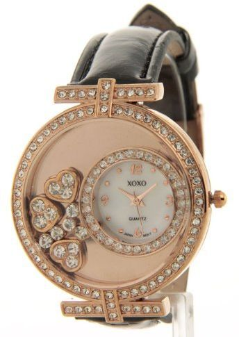 Xoxo Women's Rhinestone Accent Leather Large Fashion Watch