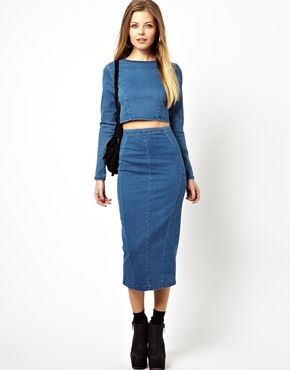 Long sleeve denim crop top with midi pencil skirt $56 | юбка ...