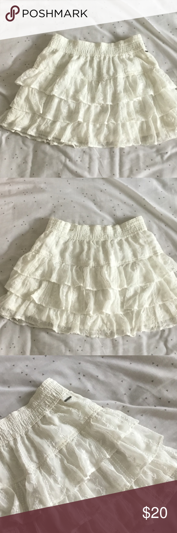 e42ee1345 Hollister White Lace Skirt 🐬 - White Lace Fabric - Unused BRAND NEW  condition - %100 polyester - stretchy waistband (comfortable) 🌸 MAKE AN  OFFER ...