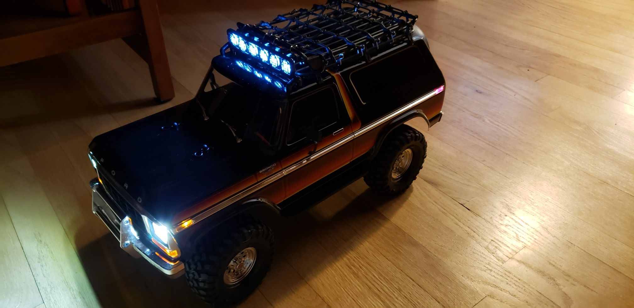Traxxas Trx4 Ford Bronco With Roof Rack Cargo Net Roof Mount Light Bar And Many 1 10 Scale Accessories Coming As Going Ford Bronco 1979 Ford Bronco Traxxas