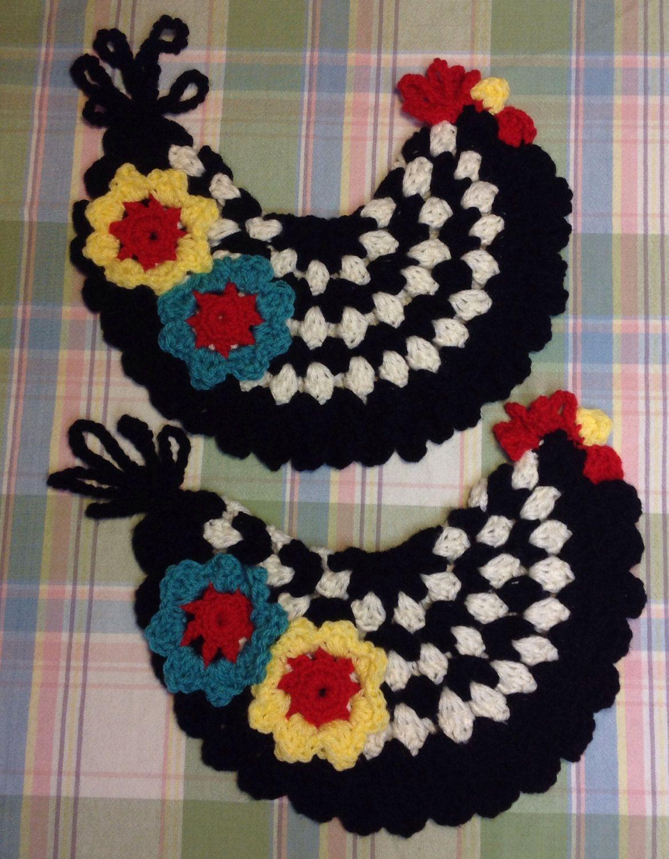 Hand Crocheted Chicken Pot Holders   Pinterest