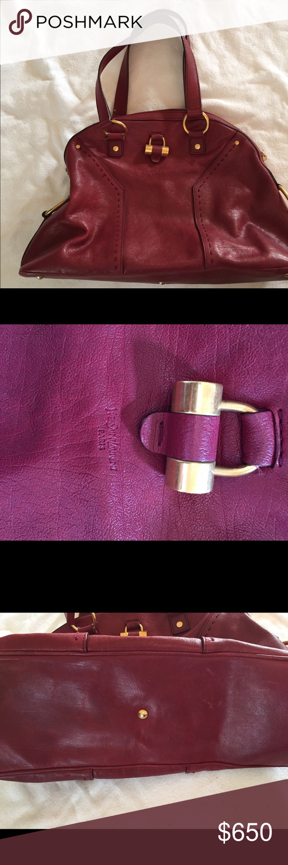 Yves saint laurent ysl muse bag burgundy Excellent condition, black satin on inside looks almost new. I used this for one year, but only occasional use. I can't post more pics here but happily send by email. Authentic! Several years old but looks great! Yves Saint Laurent Bags Satchels