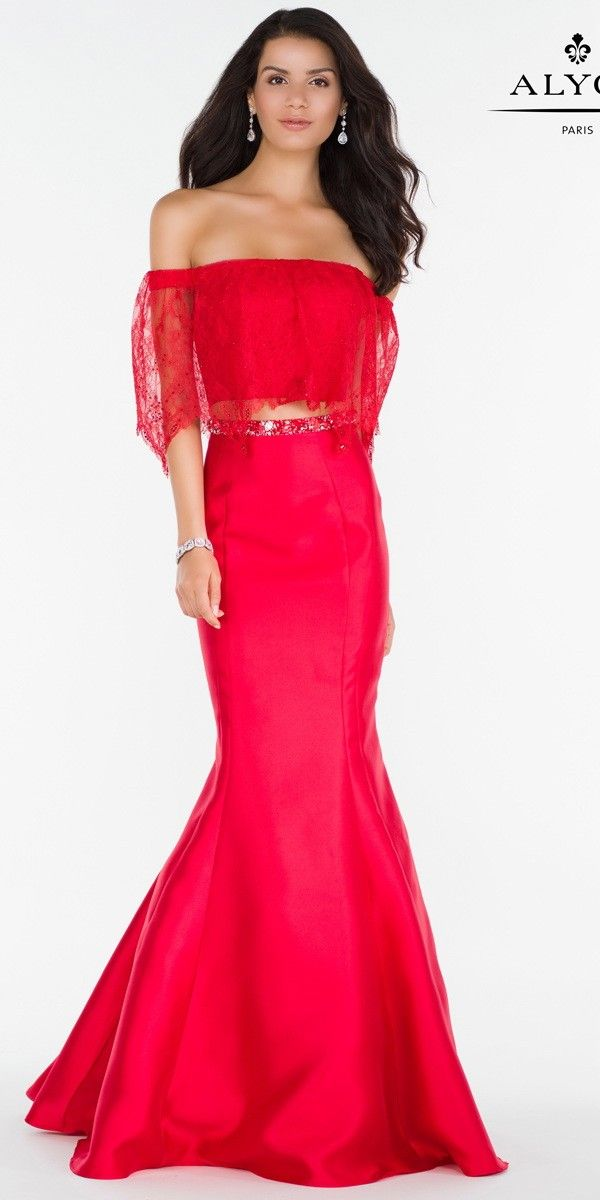 Off the Shoulder Red Lace Mikado Two Piece