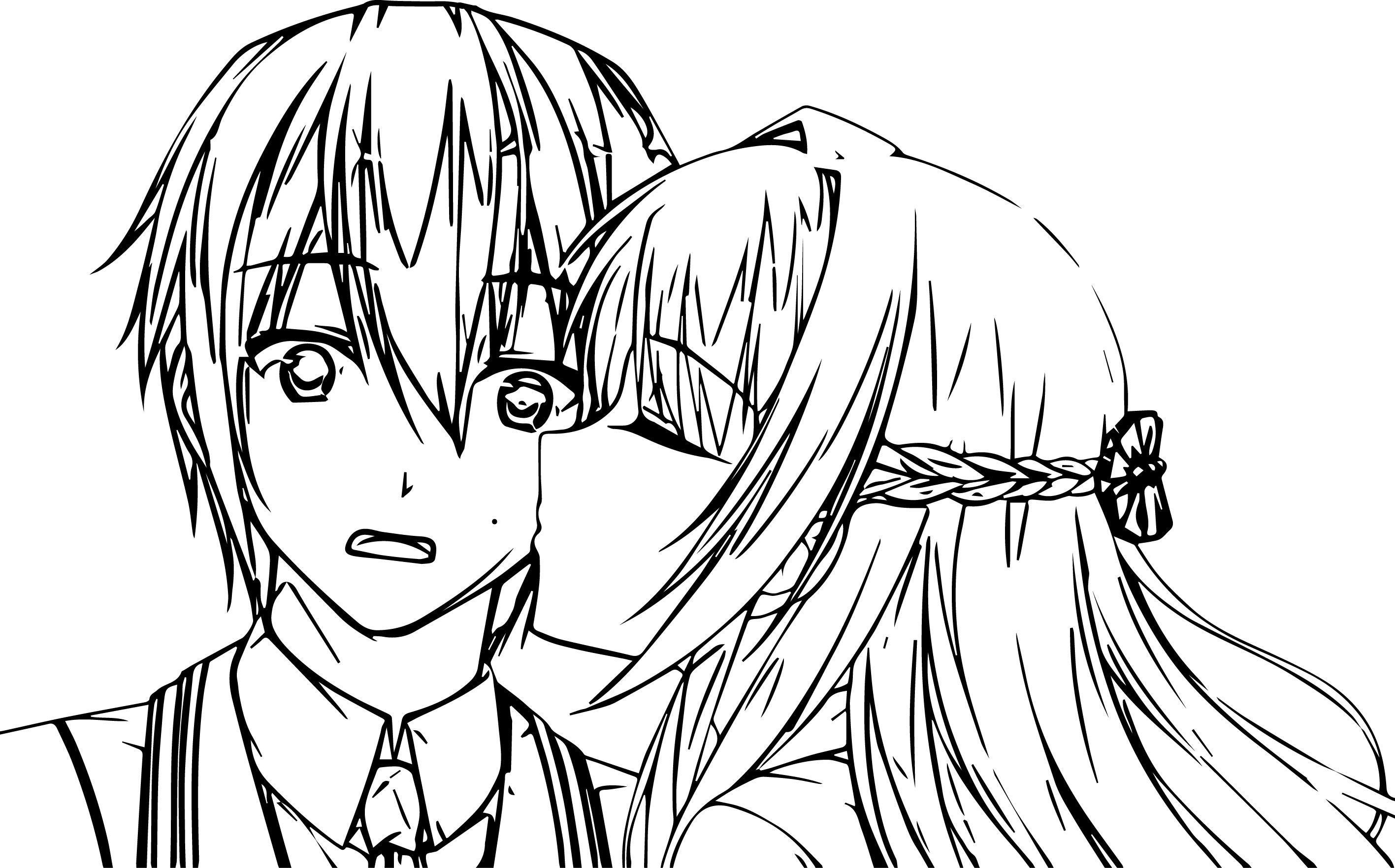 nice Anime Kiss Coloring Page