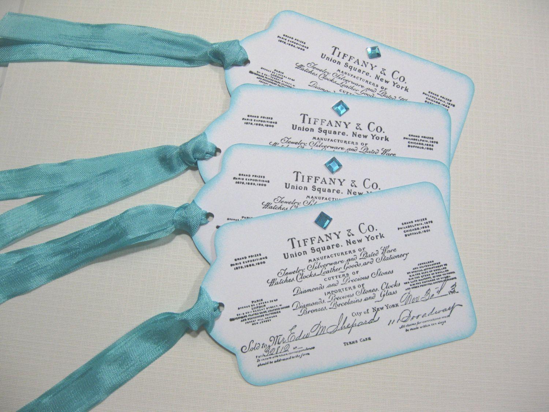 Set of 10 Aqua Blue Breakfast at Tiffany Wedding Favor Tags - Audrey ...