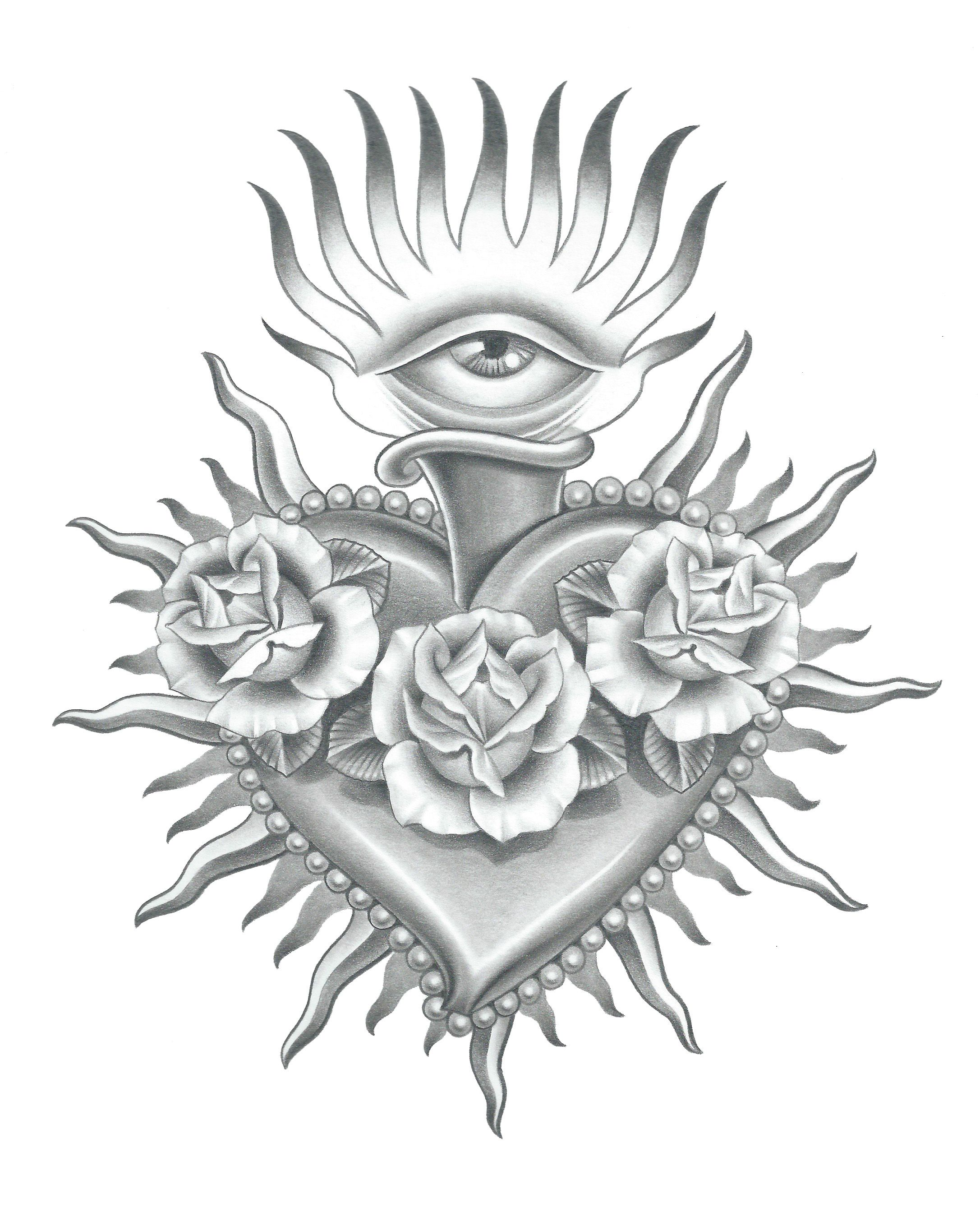 realistic sacred heart drawing google search tattoo ideas black grey christian nordic. Black Bedroom Furniture Sets. Home Design Ideas