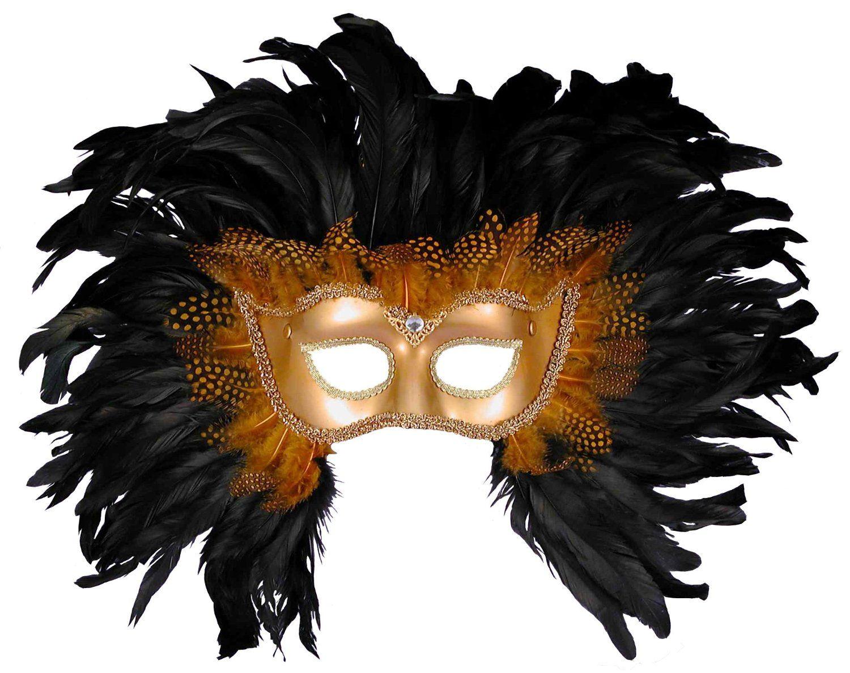 Amazon.com: Forum Elaborate Feather Venetian Mask, Gold/Black, One Size: Clothing