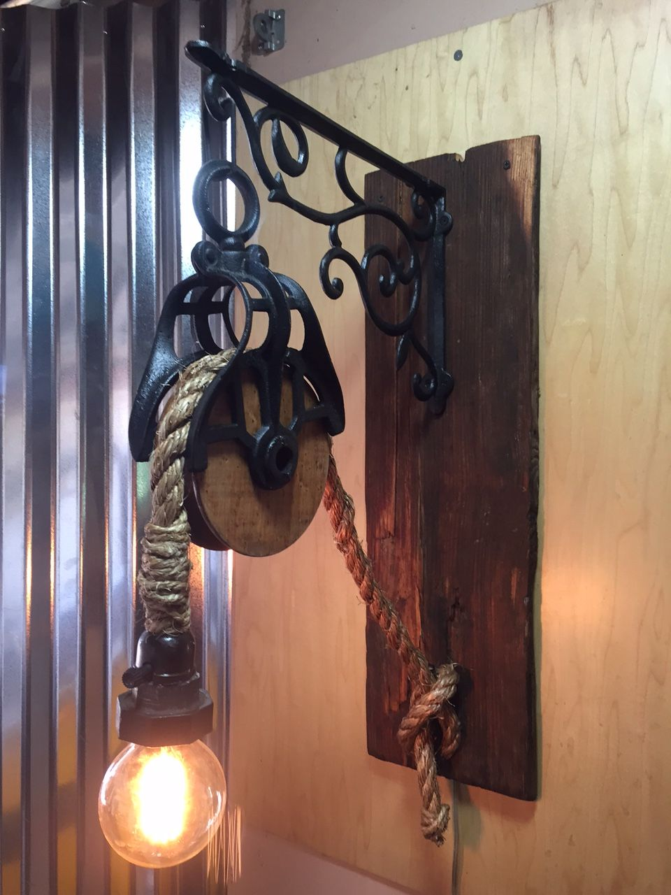Antique Pulley Light With Cast Iron Hanger Mounts To The