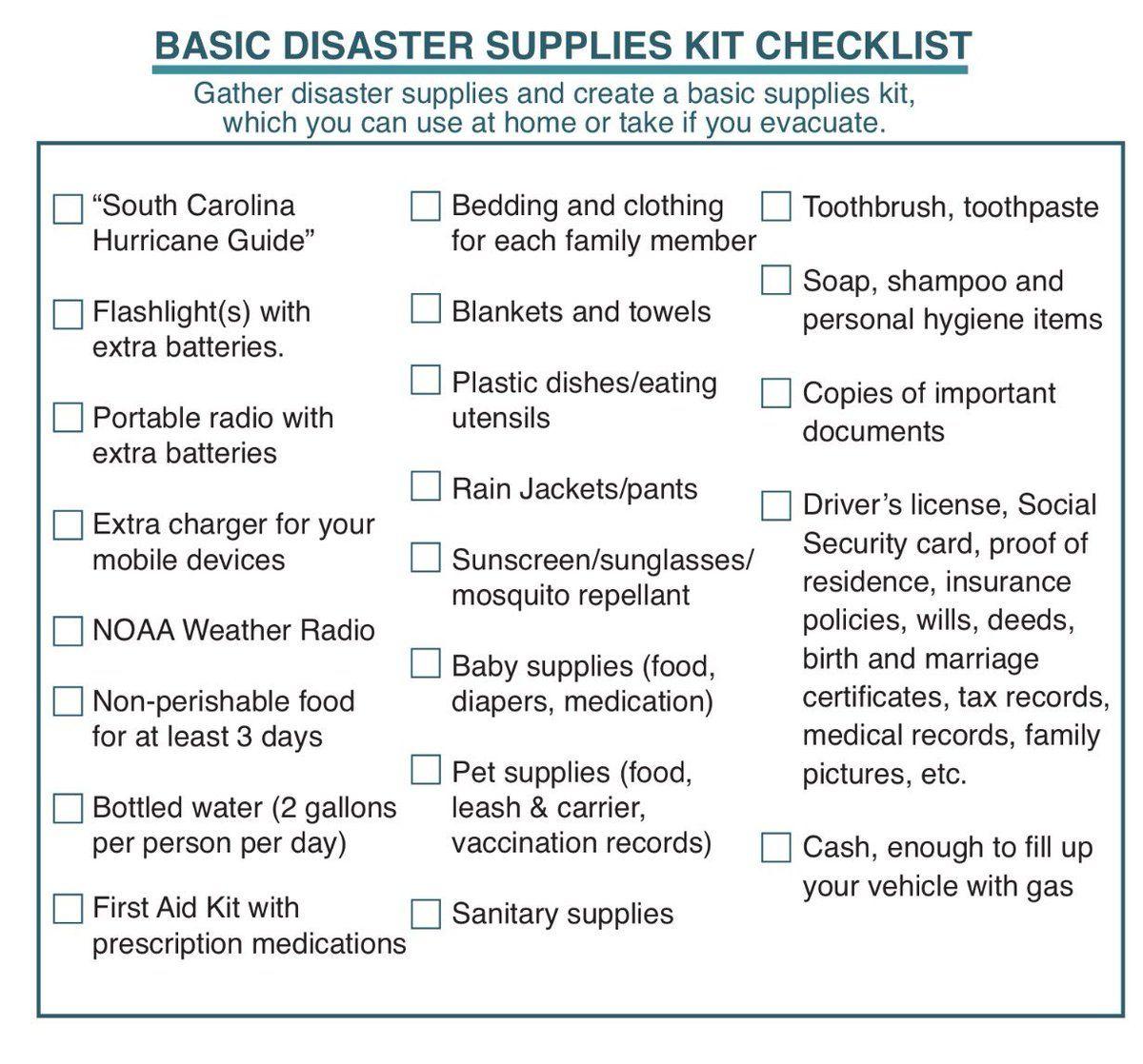 Scemd Scemd Twitter Disaster Supplies Kit Checklist