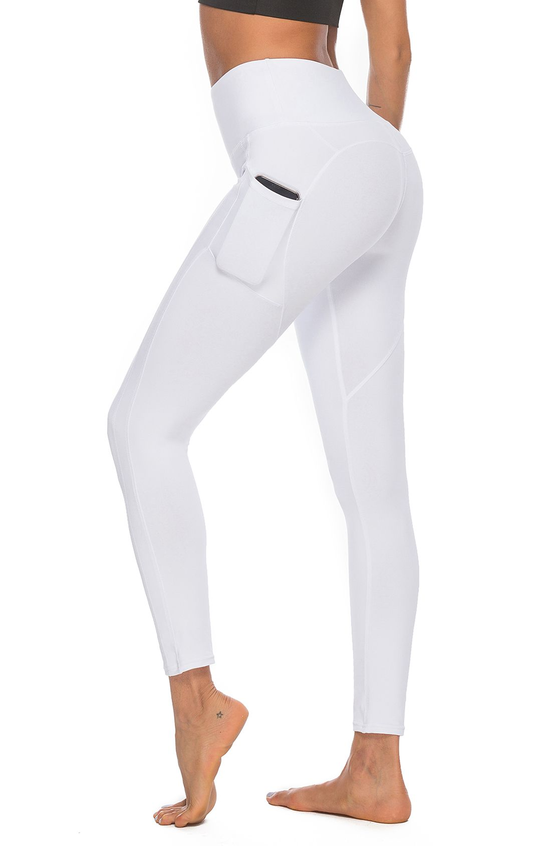 5fa8a156062ab Women's Workout Leggings with Pockets High Waist Active Yoga Pants for Running  Sports Fitness Gym White