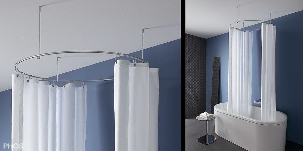 Duschvorhangstange Gebogen In Rund Oder Oval Duschvorhangstange Dusche Duschvorhang Halterung