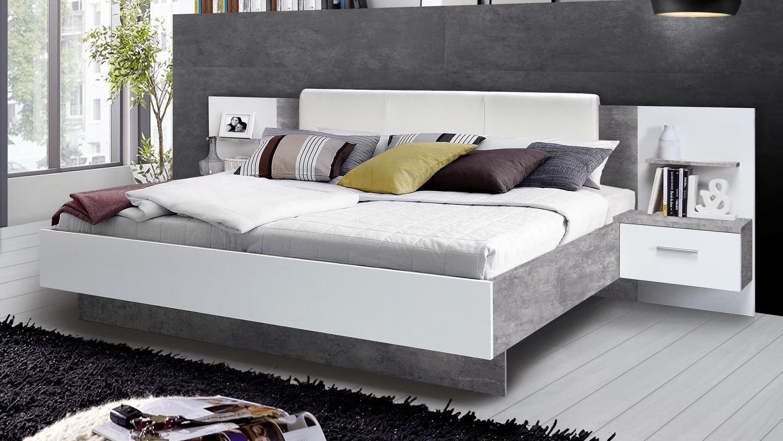 Bettanlage GINGER Bett mit Nachttisch weiß und Betonoptik