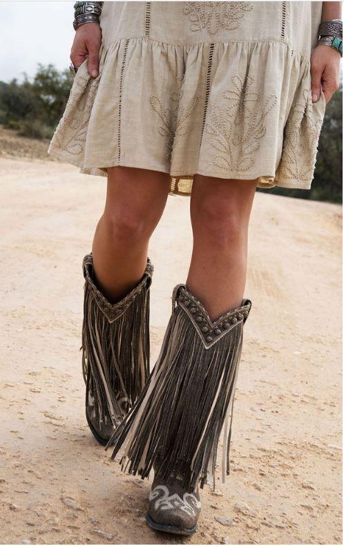 """Double D Ranch~Lane """" Prescott """" Fringe Boots!~ Black"""