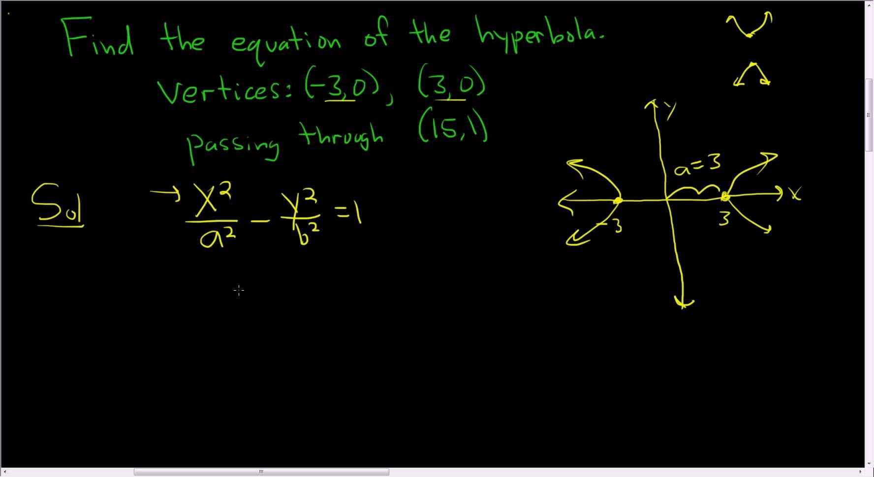 Finding The Equation Of A Hyperbola Given The Vertices And