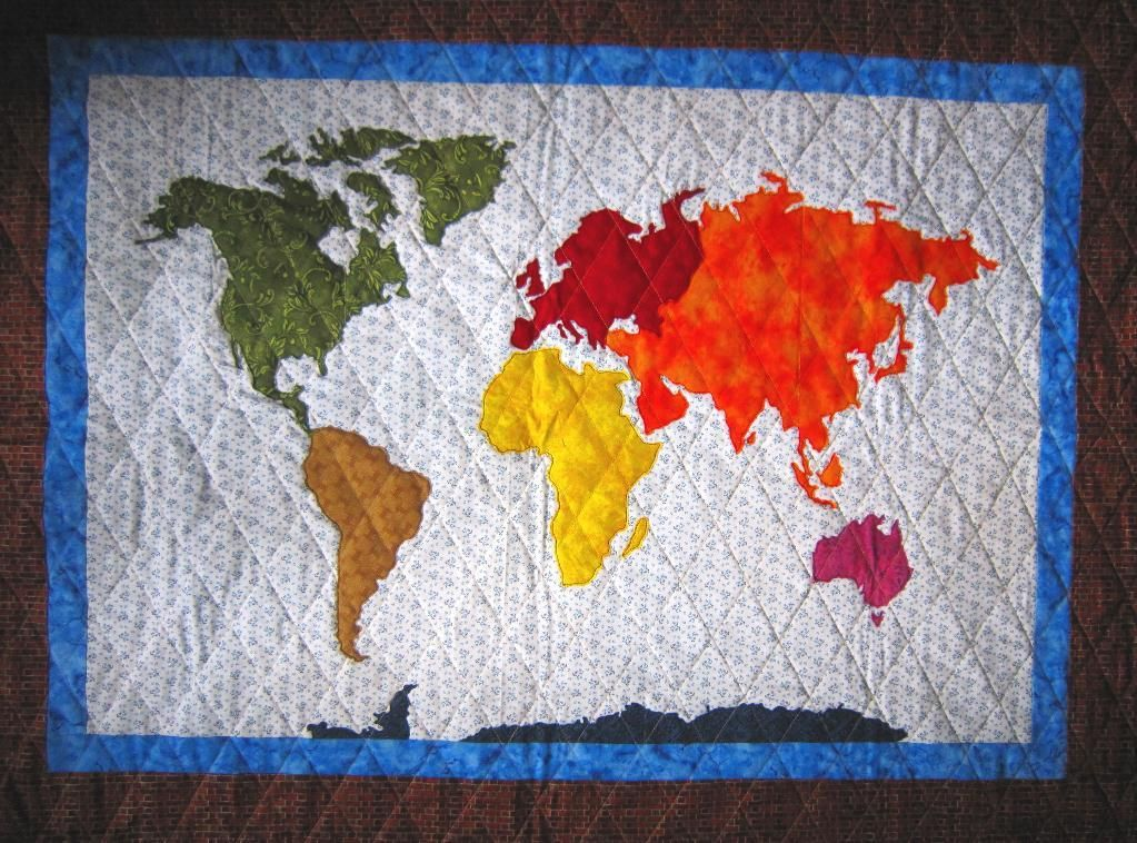 Our world patchwork map applique quilt map quilt patchwork and youre going to love our world patchwork map applique quilt by designer elena mcdowell gumiabroncs Image collections