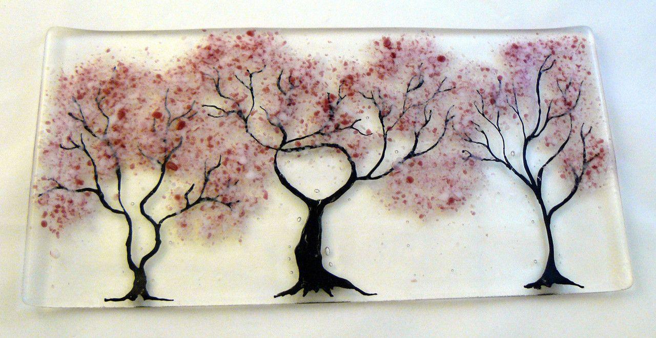 Three Cherry Blossom Trees In Fused Glass I Want This Fused Glass Plates Fused Glass Art Cherry Blossom Tree