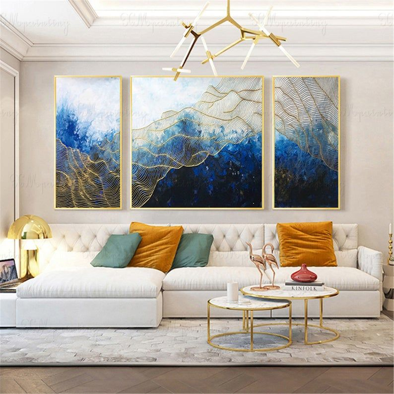 3 Pieces Framed Abstract Painting Wall Art Picture For Living Room Wall Decoro Handmade Canvas Acrylic Navy Blue Original Gold Lines Artwork Living Room Pictures Wall Art Pictures Abstract Canvas Painting Framed photos for living room
