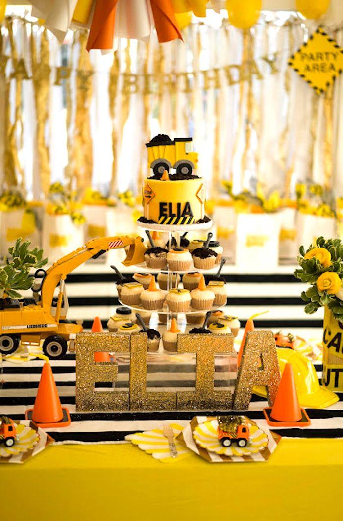 Modern Construction Birthday Party Kara S Party Ideas Construction Birthday Parties Construction Birthday Construction Party Cakes