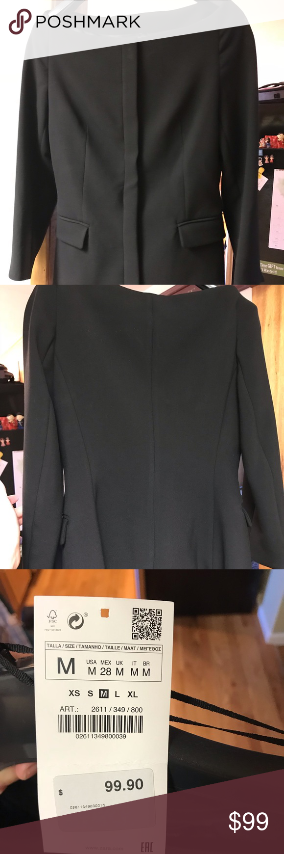 88ce0e27f5 Zara Boat-Neck Black Blazer (NWT) This blazer is beautiful