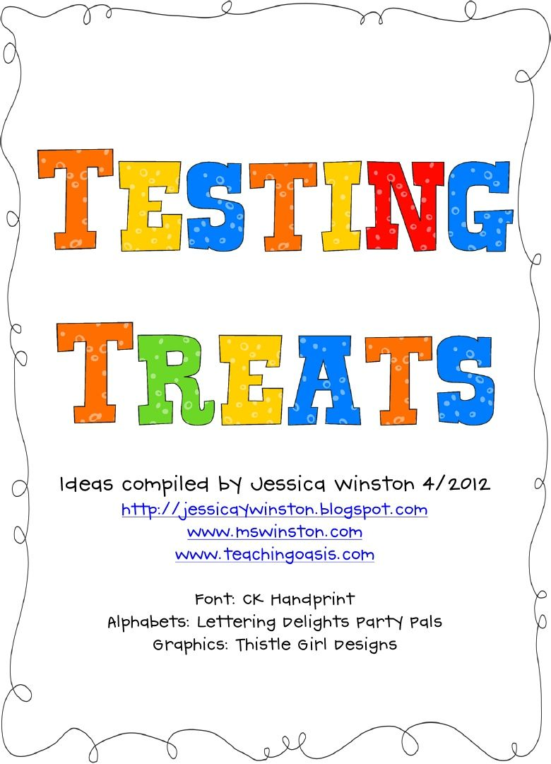 Testing Treats-treat ideas and printables to go with them