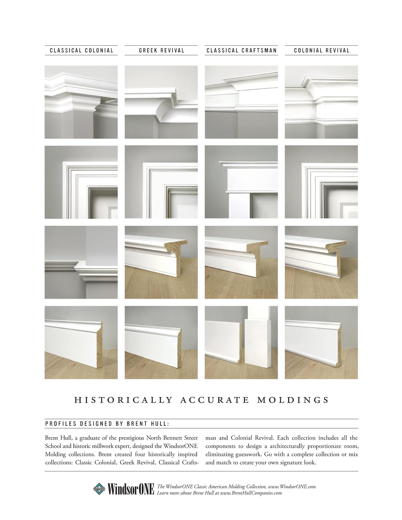 Side By Side Examples Of The Different Styles Of Architectural Trim