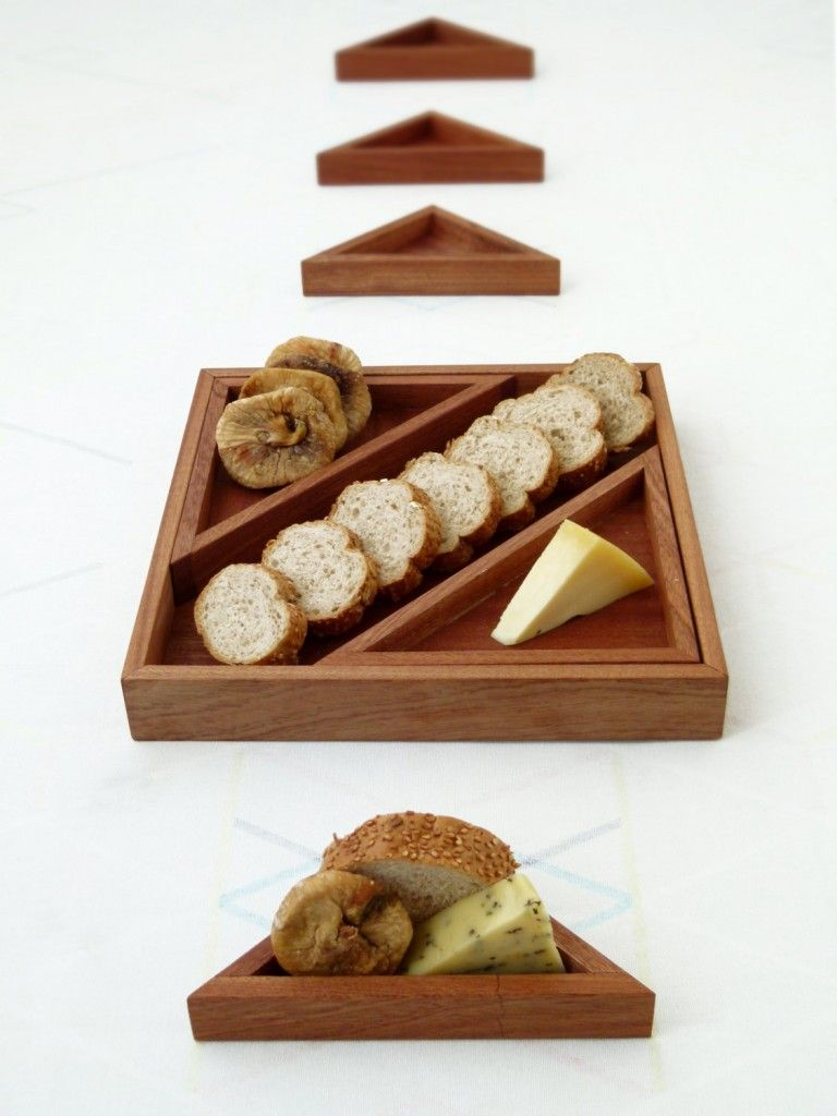 Wooden Serving Tray, Set Of 7 Geometric Wood Trays, 1 Square Tray And 6