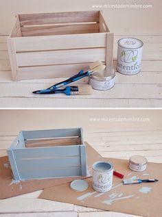 Taller chalk paint y diy caja de madera mi cesta de - Como decorar cajas de madera de fruta ...