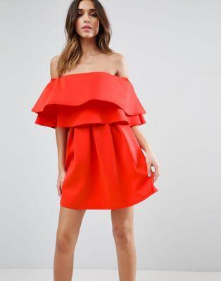 5afa157bf19 ASOS Ruffle Off Shoulder Mini Dress