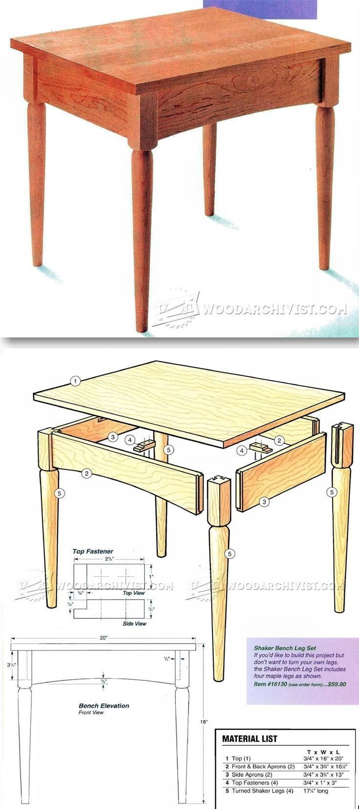 shaker bench plans - furniture plans and projects | wood design and