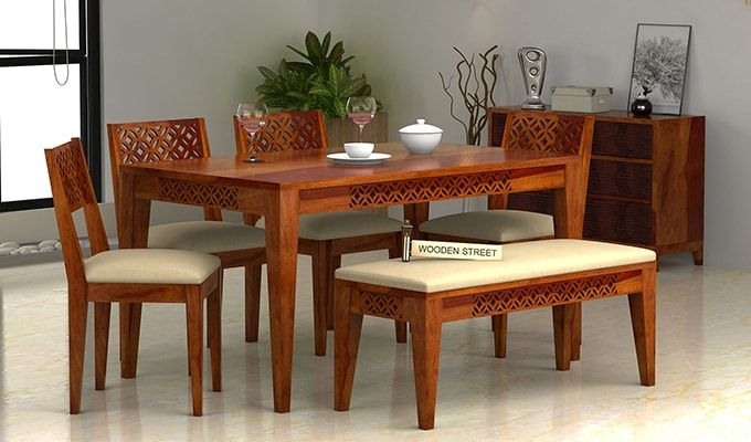 Pune 6 Seater Dining Table Dining Table With Bench Wooden