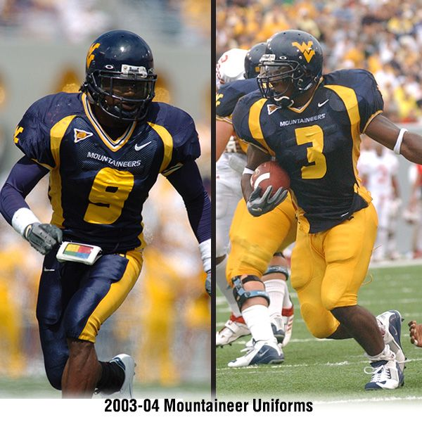 WVU blue uniforms from 2003-04...pictured here are Adam Jones (9) and  Quincy Wilson (3) 1c9c46742