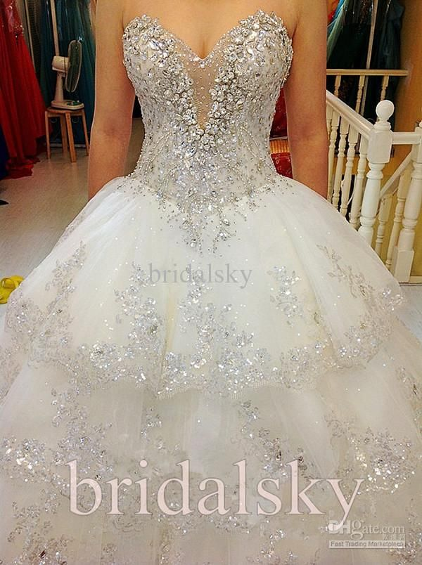 Winter Wedding Dresses with Lots of Bling