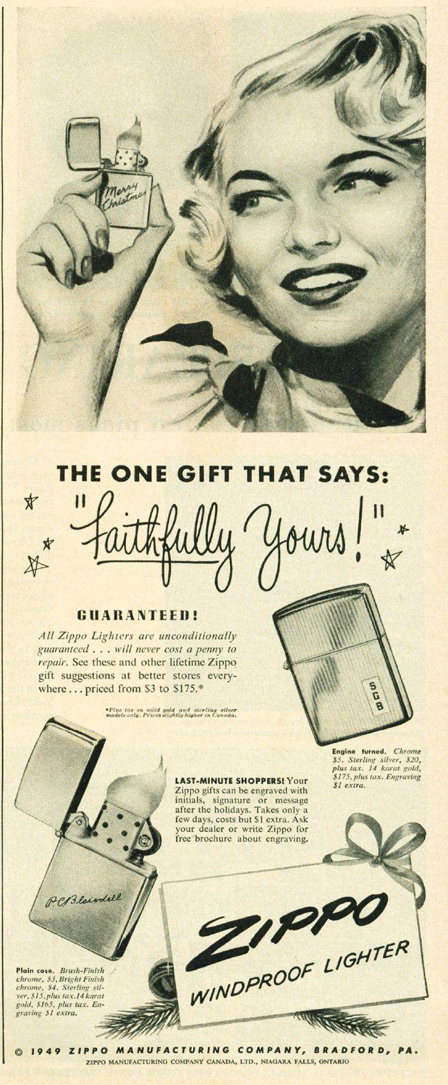 Vintage Zippo Advertisement From 1949 Zippo Art Zippo Zippo Butane Lighter