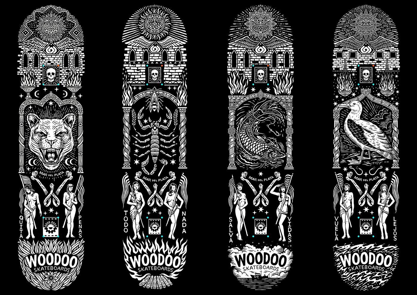 Board graphics for woodoo skateboards tatuajes
