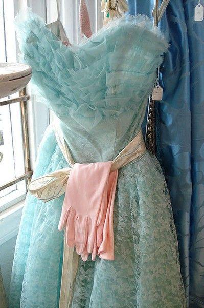 Vintage blue prom dress with pink gloves...
