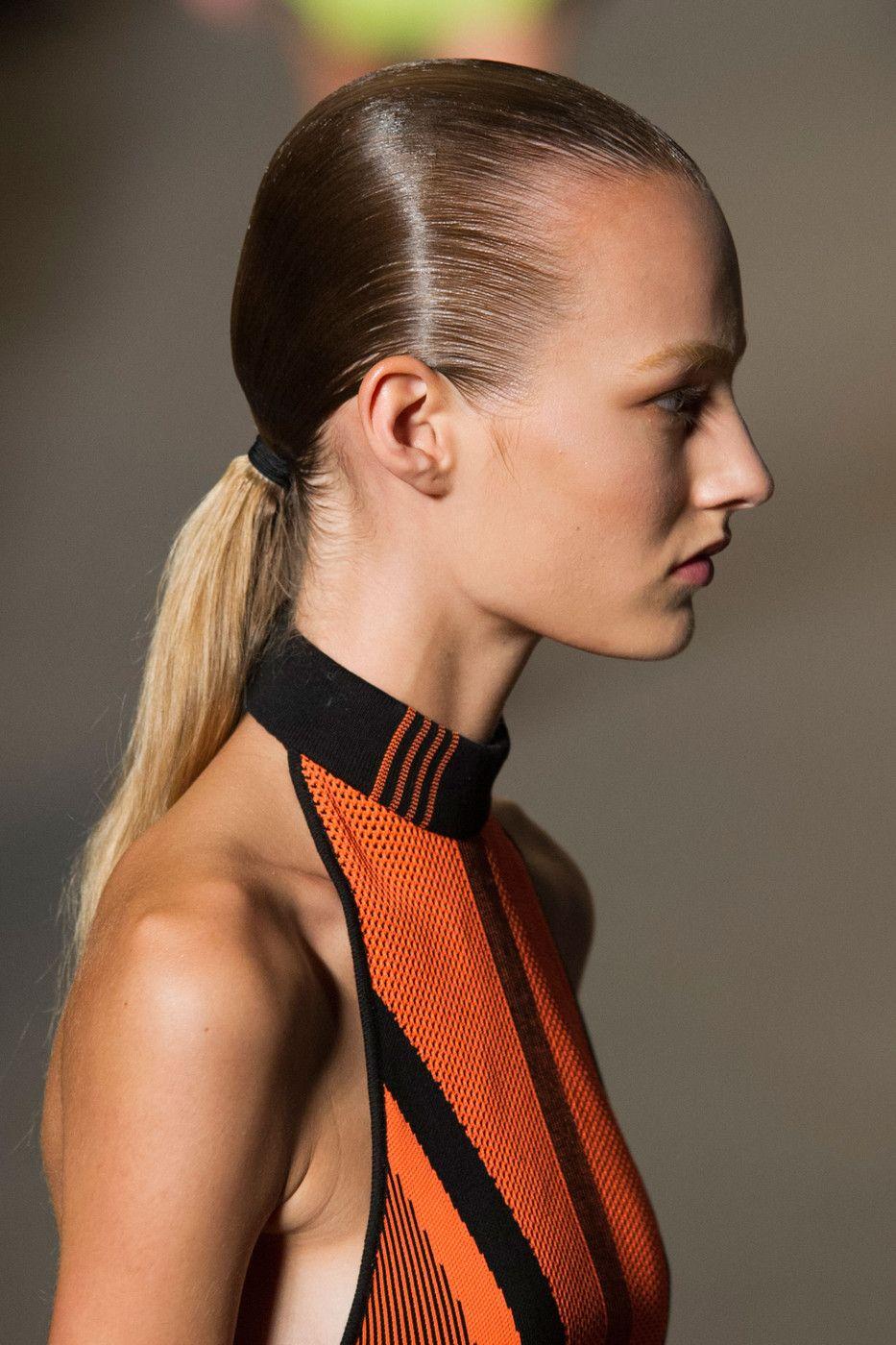 Alexander Wang At New York Spring 2015 Details Sleek Hairstyles Wet Look Hair Hot Hair Styles