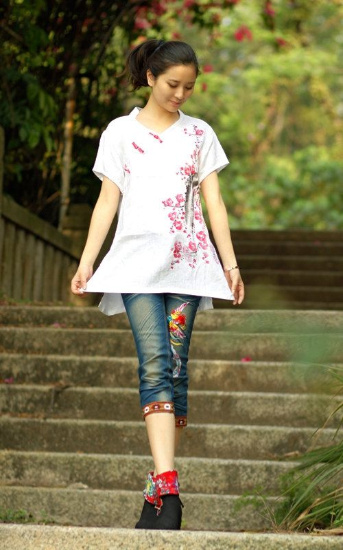 VNeck Blouse White Shirt Top Summer Custom Size Tops by MissLinen, $62.00